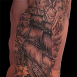 Black & Grey Ship Tattoo | Joel David McClure | Tough Love Studio