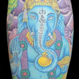 Blue Ganesh Tattoo | Joel David McClure | Tough Love Studio