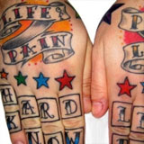 Life & Pain Color Hand Tattoos | Joel David McClure | Tough Love Studio