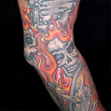 Harley Davidson Skulls & Fire Tattoo Sleeve | Joel David McClure | Tough Love Studio