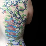 Watercolor Plum Blossom Panel Tattoo | Joel David McClure | Tough Love Studio