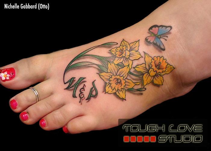 Blue Daffodil Tattoo Daffodil Foot Tattoo